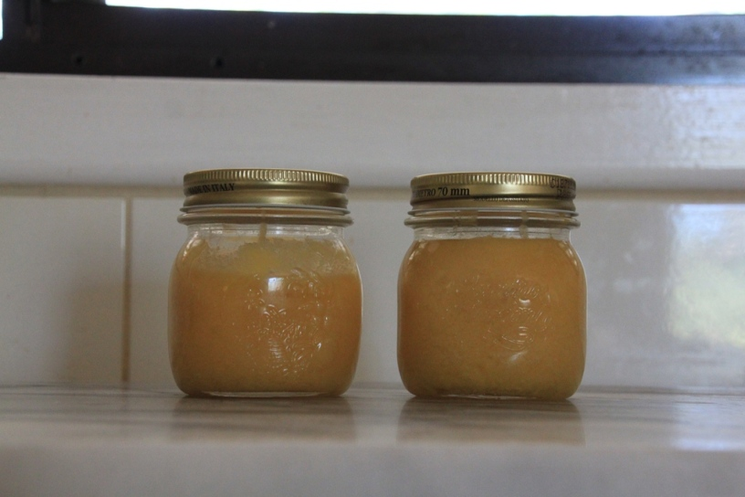 Lime curd in jars