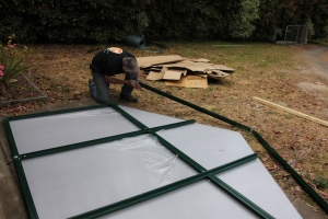 Constructing the backof the greenhouse