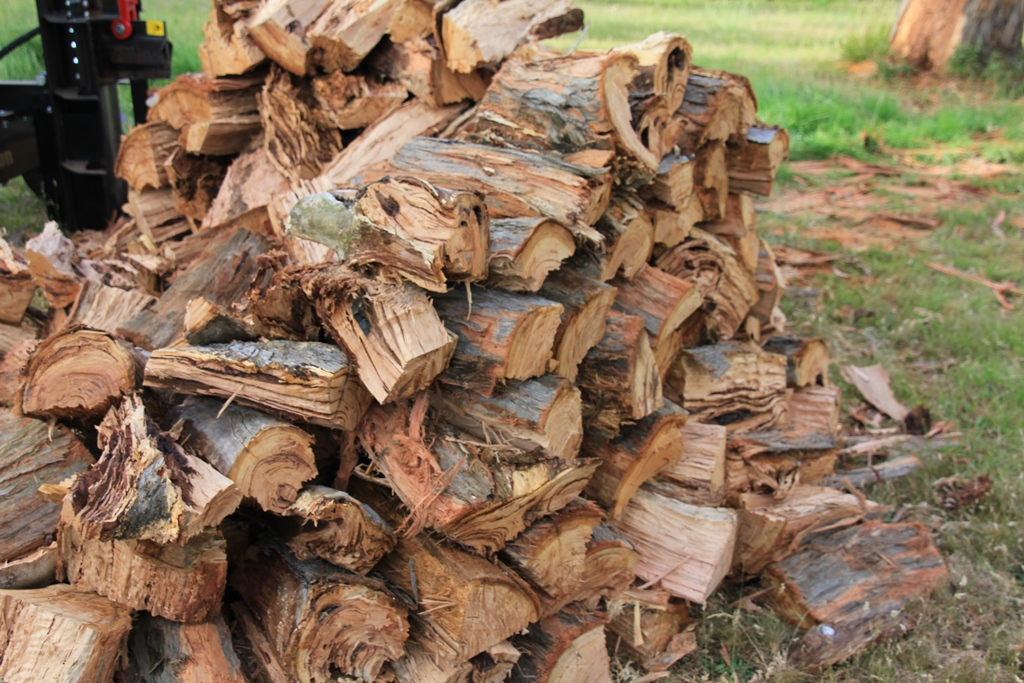 The pile of split wood.